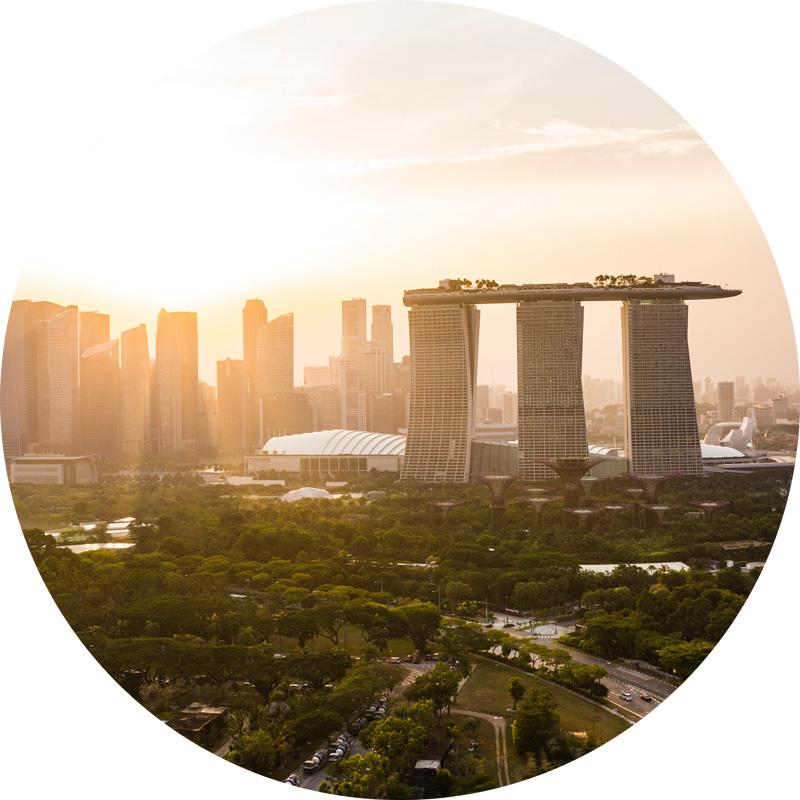 A skyline view of Singapore