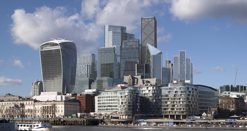 View of the City of London's eastern tall buildings cluster as it is expected to appear from the south bank of the River Thames by 2026.