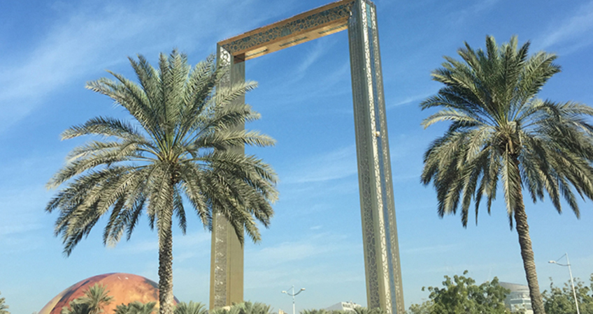 The Dubai Frame, a 150-meter-high observation platform connected with a 93-meter long skybridge. The tourist attraction offers visitors 360-degree views of the city.