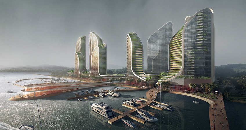 A series of apartment towers inspired by the natural environment of Indonesia are part of the luxury waterfront developed proposed for Jakarta.