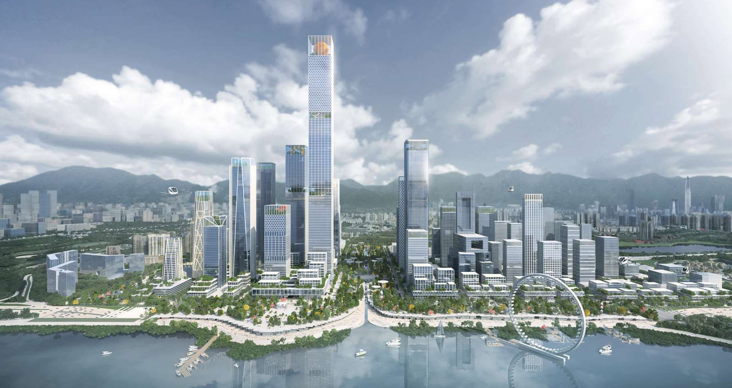 (c) Henning Larsen. A proposal for a 5.1-kilometer-city center in Shenzhen calls for cultural and commercial institutions near the seashore.