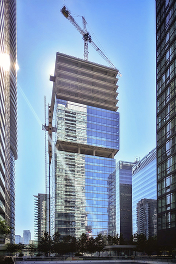 Cladding installation on the 16 York tower.