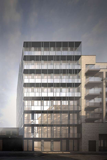 A rendering of the future nine-story shipping-container office tower.