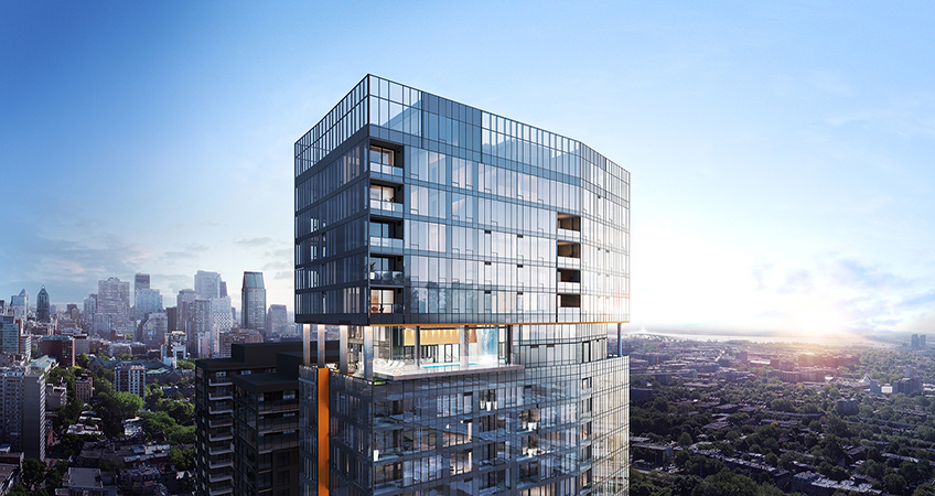 The 22 penthouses, which span from the 30th to the 38th floor, range in size.  © EMB Construction