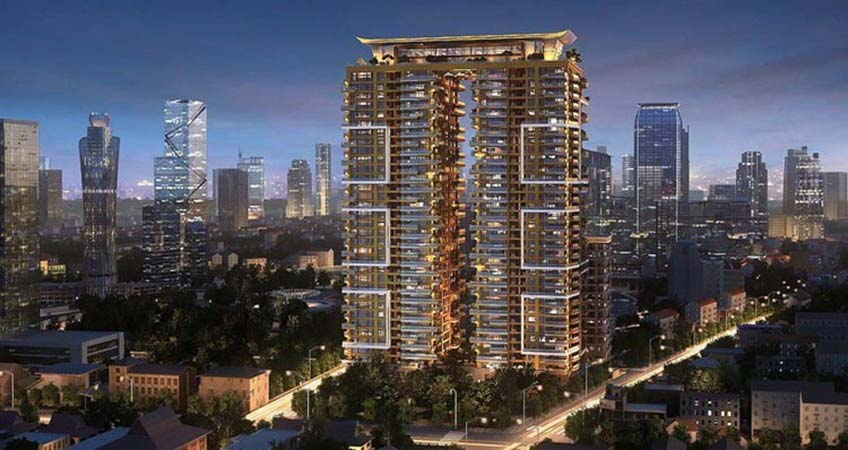 The Sky Villa complex comprises two 35-story residential towers, each with 128 units and four-story basement car park.