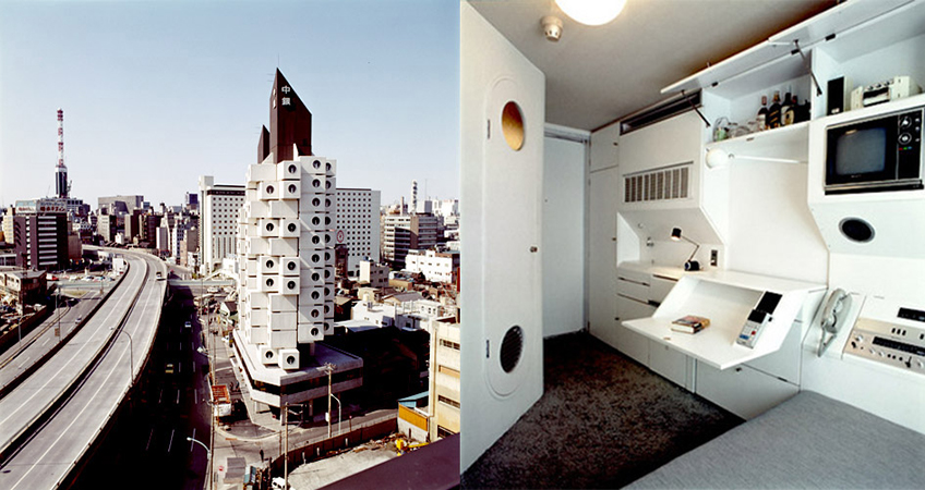 The compact capsules, each only 10 square meters in size, were designed as a city crash-pad for business people.