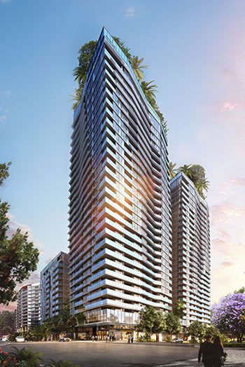 At 33 stories the development boasts the tallest building south of the river in Brisbane.