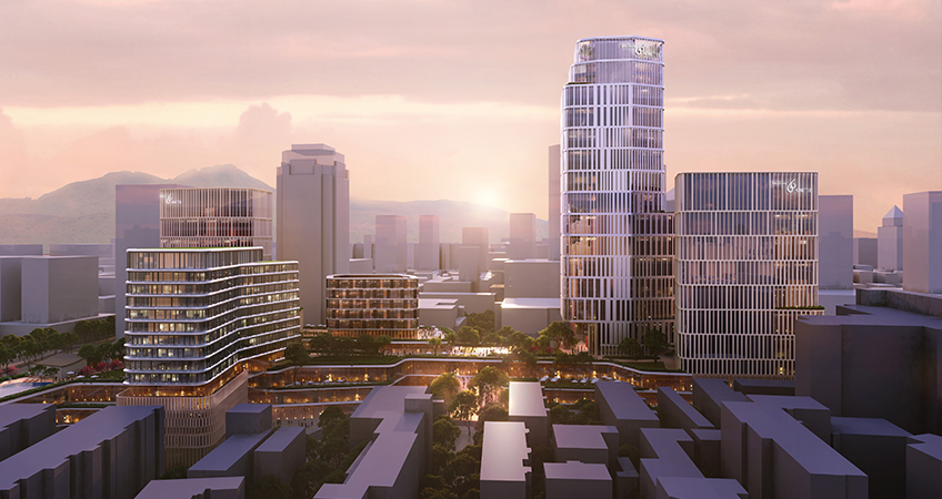 West Lake 66, a new project in Hangzhou, broke ground, which will contain five office towers, a hotel, a mixed-use podium, and public parks.