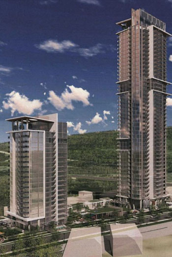 """The design of the towers makes use of """"strong, vertical fins with horizontal frames to mitigate mass and scale."""" Credit: Chris Dikeakos Architects"""