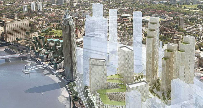 The redevelopment is on a stretch of land next to the US embassy at Nine Elms in the City of London.