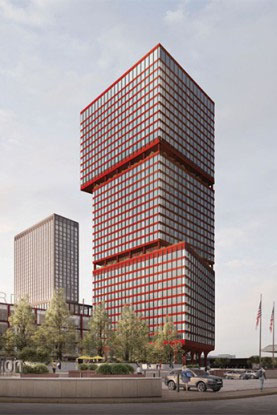 The red tower and its more demure residential twin received positive feedback at Philadelphia's Civic Design Review committee earlier this month. Credit: PAU/Brandywine
