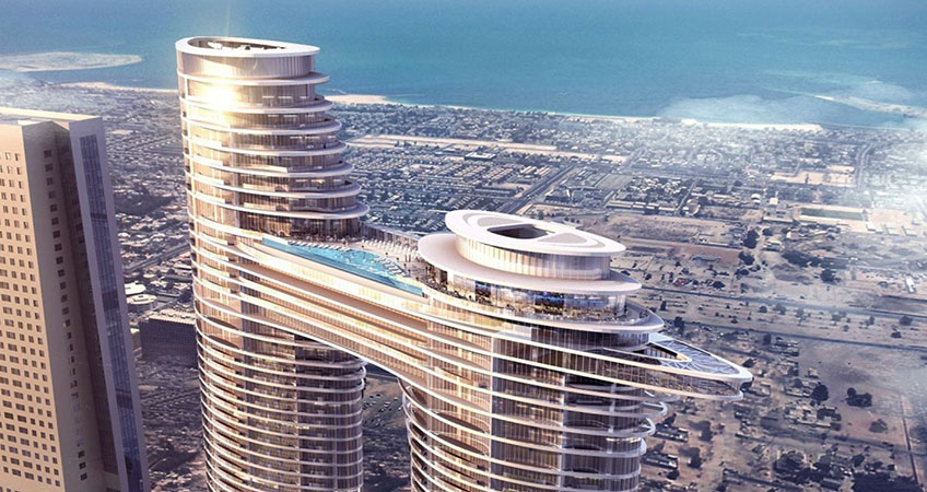 The distinct building will offer Burj Khalifa or Arabian Gulf views, rooftop pools and a 220-meter skybridge.