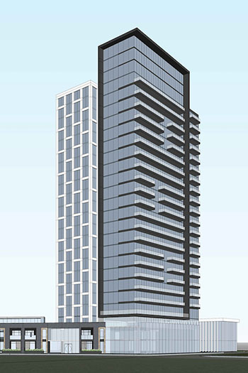 The three-tower mixed-use development would contain residential and commercial restaurant uses.