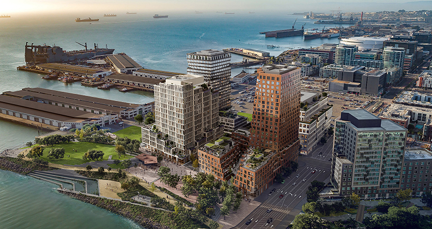 MVRDV, Studio Gang, Henning Larsen, and WORKac are the four firms that have teamed up to design buildings for a new neighborhood called Mission Rock.
