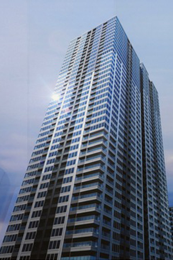 The east tower of the SHIROKANE The SKY complex will rise 45 stories above the ground with a height of 156 meters.