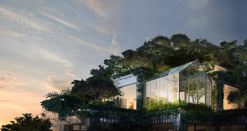 Penthouses with generous glazing and greenery were revealed for a plant-covered complex in Toronto.