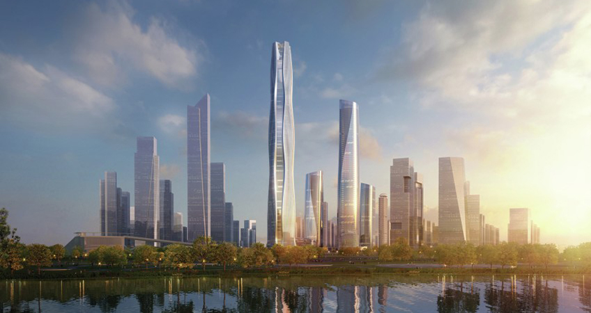 The district's master plan includes an array of five office towers and one residential tower, with the tallest reaching 500 meters.