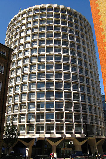 Space House was one of many postwar UK office buildings listed in 2015 as a landmark.