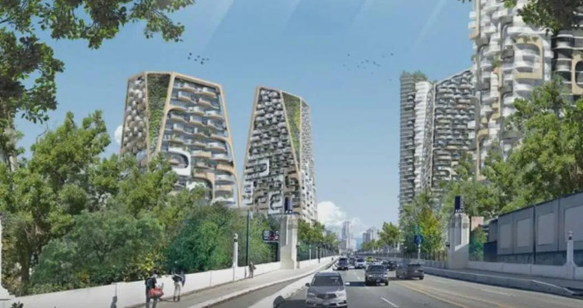 The cluster of towers, with their undulating balconies and fins, will make an instant mark on Vancouver's skyline.
