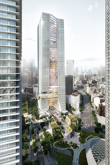 The 49-story tower will have a total floor size of 250,000 square meters and will include office space, retail, and a hotel.