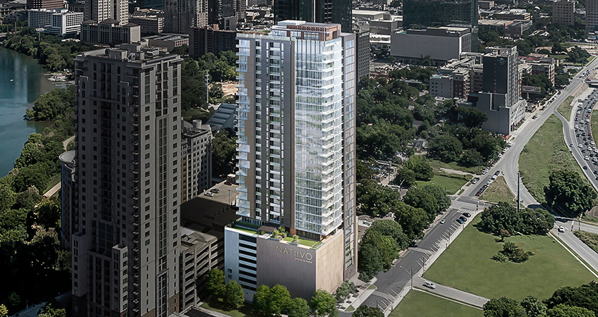 High-Rise Residential Tower Under Construction in Austin