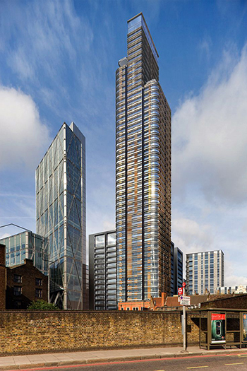 Principal Tower rises 50 stories and is one of London's tallest residential buildings.