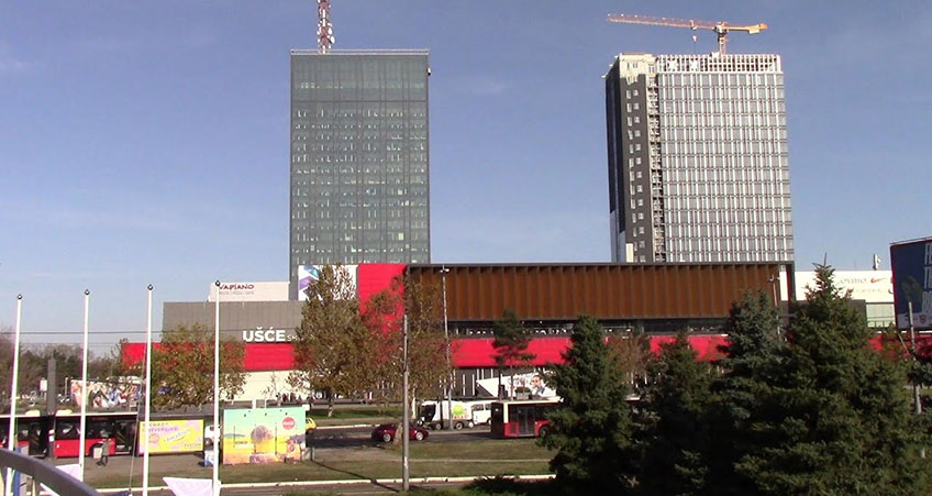 The new skyscraper is being built next to the historic Ušće Tower, which was damaged by a missile during the Yugoslav War.