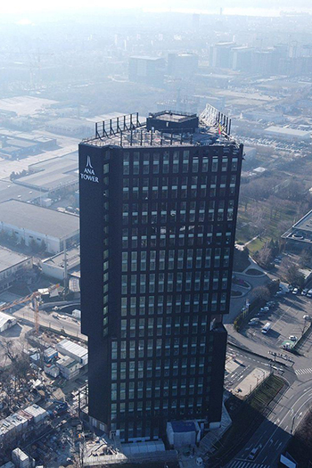 The 24-story office building has a 43,700 square meters of leasable space.