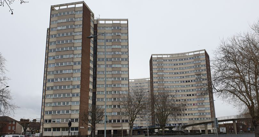 Along with 12, two-story flats, the four towers are set to be demolished.
