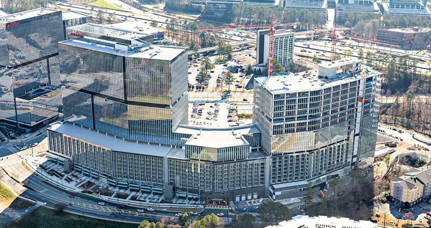 Located across the street from the Dunwoody MARTA rail station, the campus is ultimately expected to feature nearly 1.7 million square feet (158,000 square meters) of office space.