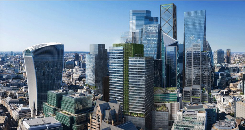 The office tower will include greening at a large scale, on both its façade and roof terrace.