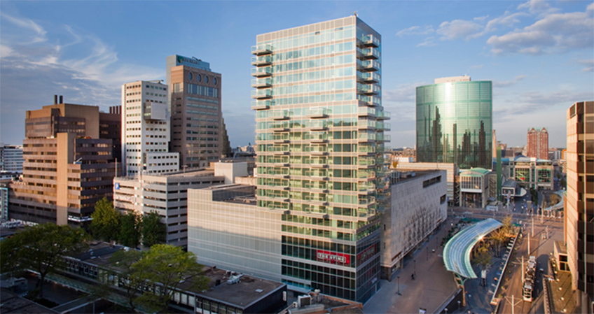 The luxury residential tower is 19 stories, and located in the center of Rotterdam.