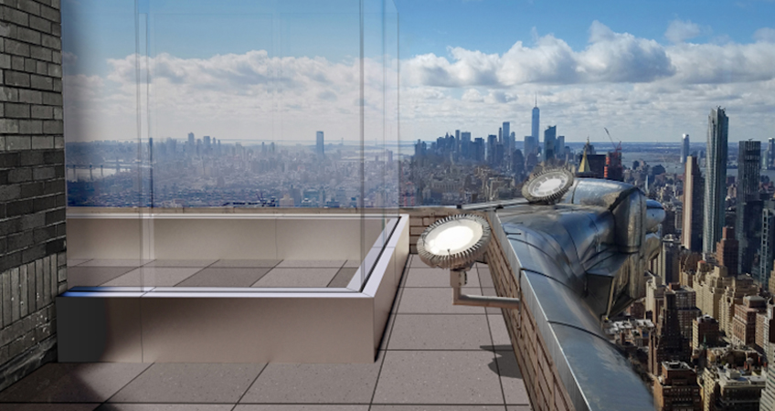 Rendering showing the 8-foot (2.4-meter) glass walls and Manhattan views from the proposed observation deck on the 61st floor of the Chrysler Building. Image Credit: Landmarks Preservation Commission.