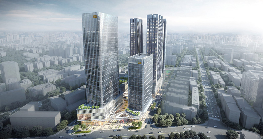 The multi-use complex is part of regeneration of the old industrial district of Sungang. (c) 10 Design.