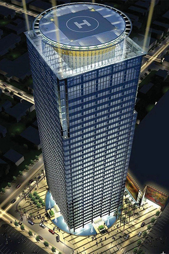 The 37-story tower has just gotten approval to add up to 415 residential units along with its office and commercial space. © Carrier Johnson Architects.