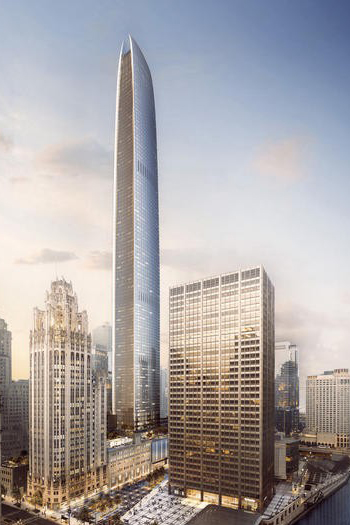The proposed 102-story skyscraper could become the city's second tallest building. Image: Golub & Co. and CIM Group via CTBUH.