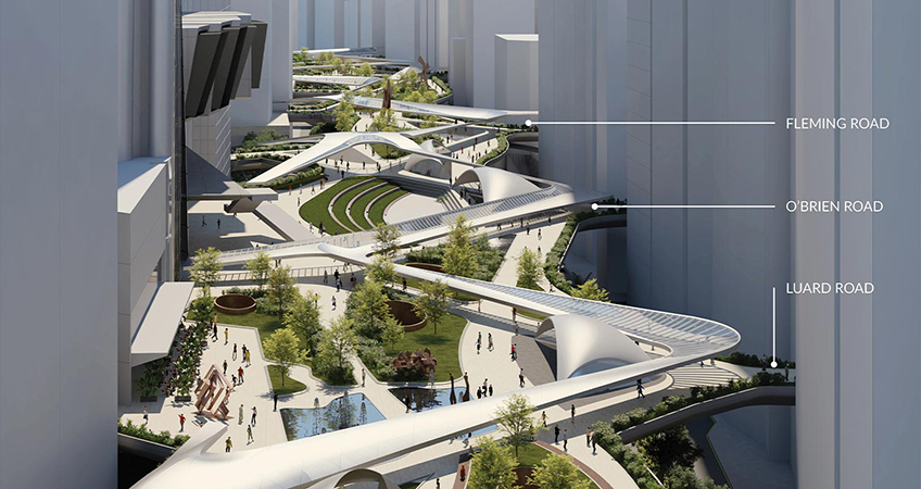 Visualization showing key roads and their integration into the new Wan Chai Connect concept. Image: DCMS