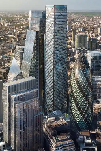 An artist's view of the proposed building at 1 Undershaft, known as the Trellis, whose future is now in doubt. Photograph: © DBOX for Eric Parry Architects