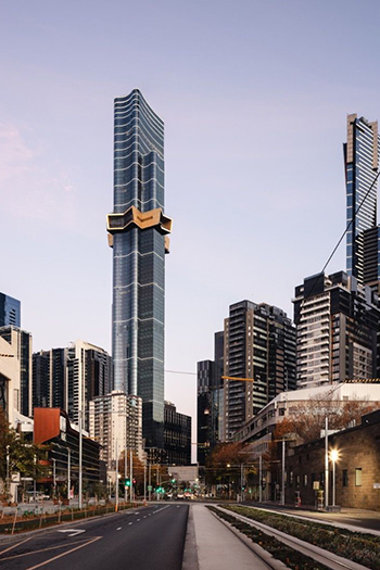The 100-story, 316.7-meter-tall supertall skyscraper in South Melbourne has topped out.