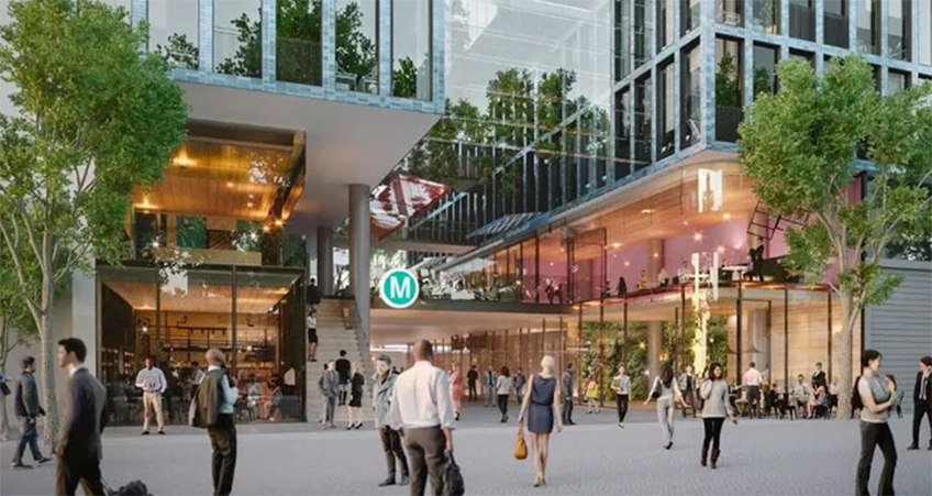 Artist's impression of the over-station tower slated for Victoria Cross station in North Sydney.