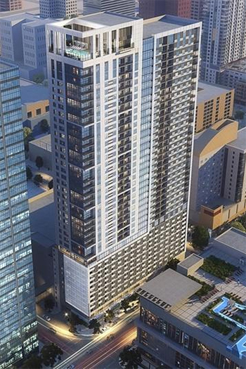 High Street Residential, the residential subsidiary of Dallas-based Trammell Crow Co., broke ground on a 43-story apartment tower in downtown Houston. It was designed by Houston-based Ziegler Cooper Architects.