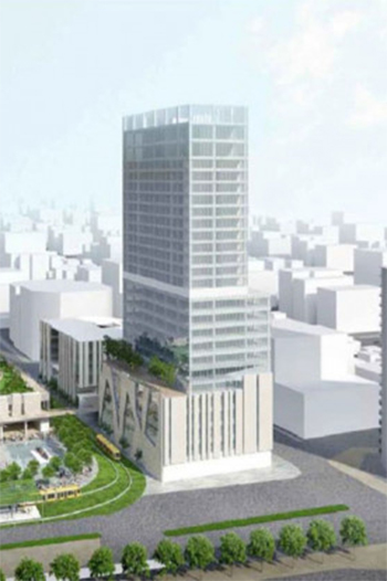 Fundraising issues have delayed the construction of a planned 27-story hotel tower.