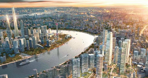 An artist's rendering of the North Bund waterfront after a new round of development.