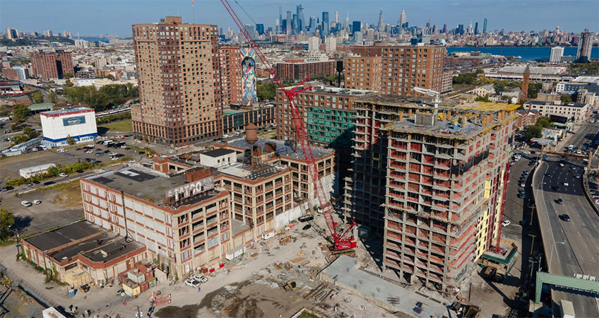 The three tower complex is rising at Monmouth Street in Jersey City.