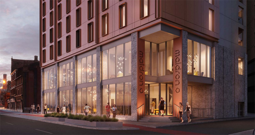 The 188-bedroom hotel would contain a coffee lounge, bar, and restaurant open to the public.
