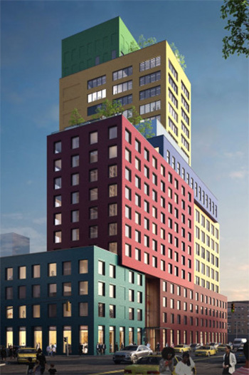 Multicolored Hotel Tops Out in New York City