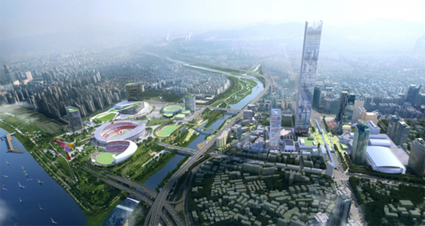 The Global Business Center in Seoul  is currently planned to be 569 meters tall, but these plans may change to create two or more towers instead.