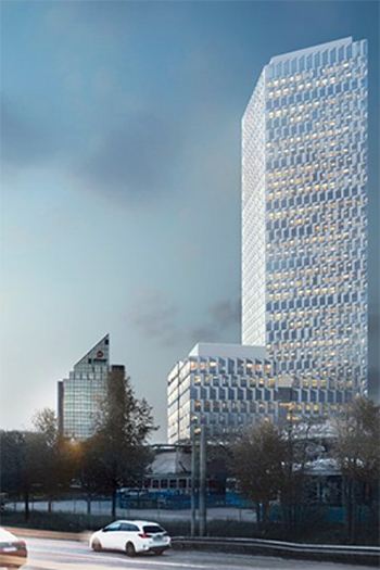 The office tower, which is expected to reach completion in early 2022, will be the tallest office building in the Nordic region at 144 meters high.
