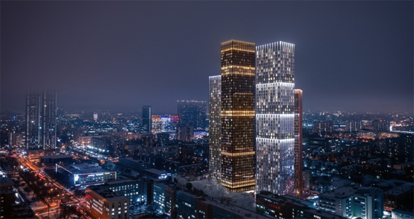 Each tower's distinctive name reflects its exterior material and concept.