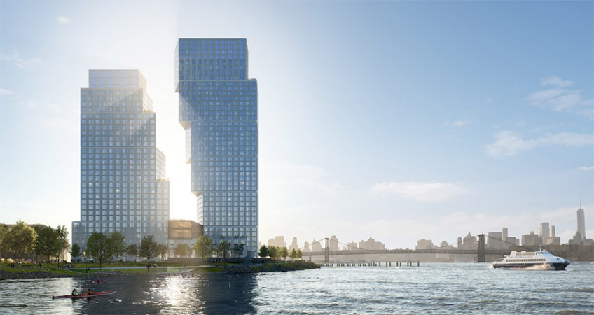 OMA's future pair of skyscrapers at Greenpoint Landing. Developed by Brookfield and Park Tower Group.